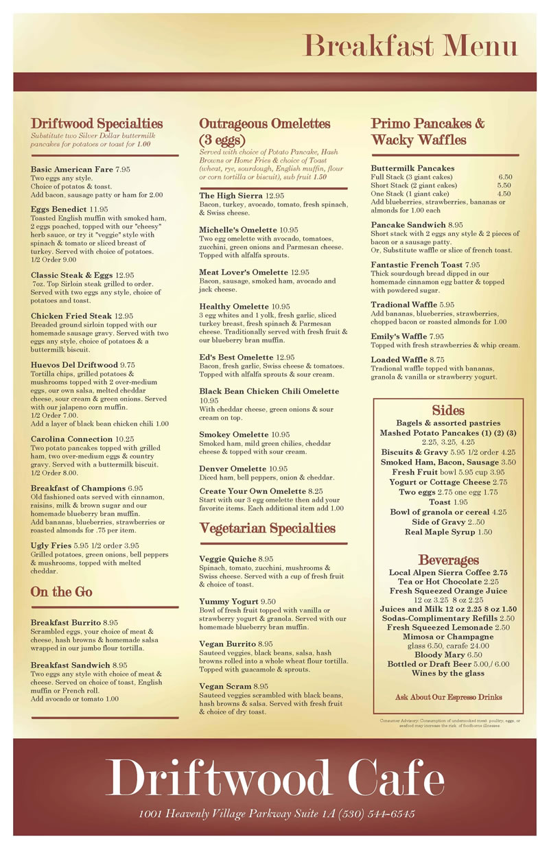 Driftwood Breakfast menu 800 March 2017
