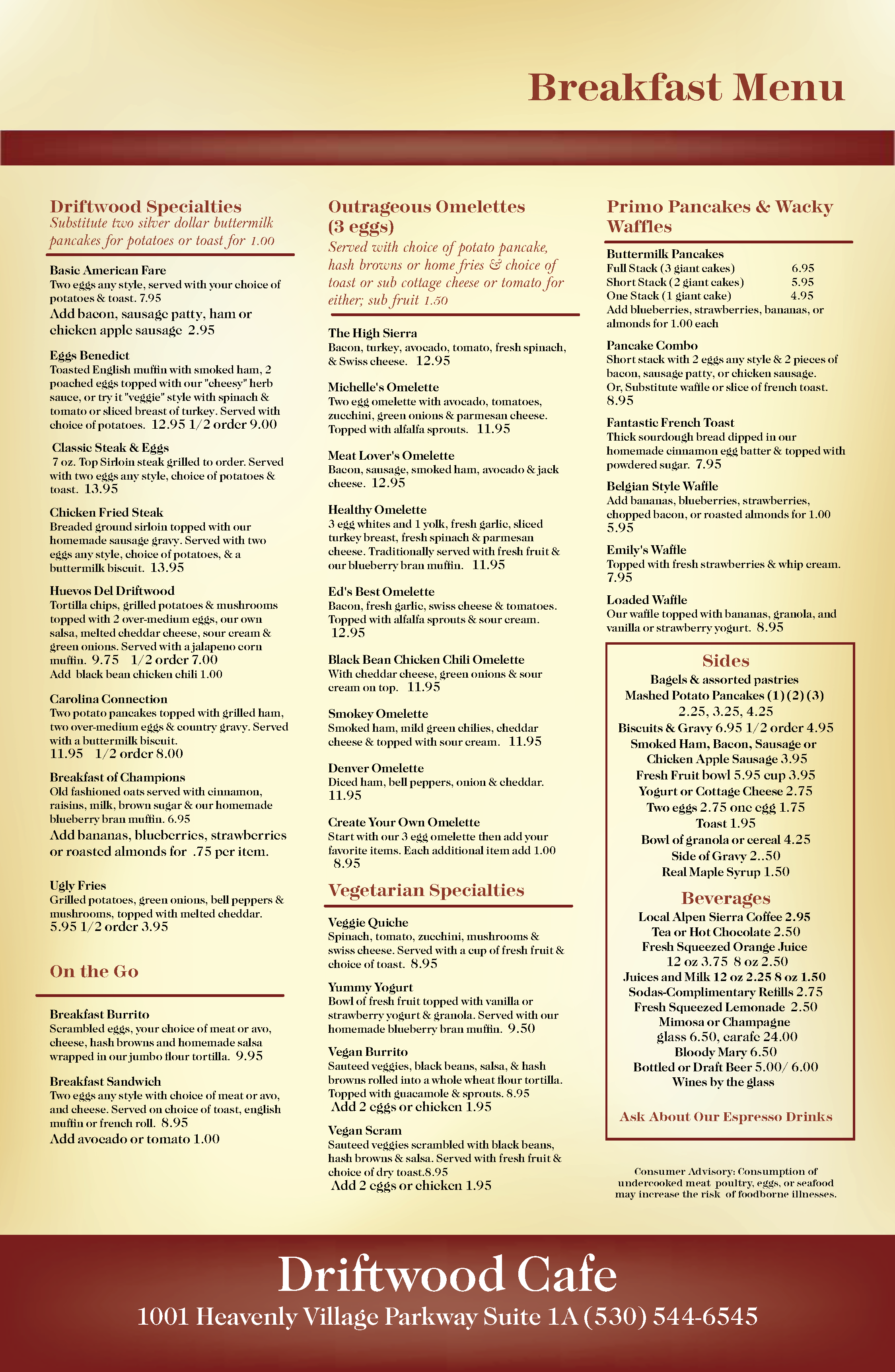Driftwood 2019 Breakfast menu